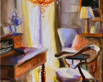 BUREAU EN BOIS, Original painting of French Window scene, wooden desk, interior art,