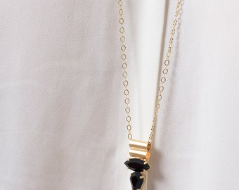 long pendant necklace, gold long pendant necklace,crystal pendant necklace, long gold & Black necklace,