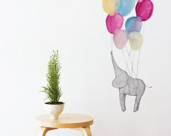 Elephant and Balloons Removable Wall Sticker | LSB0088CLR-JMS