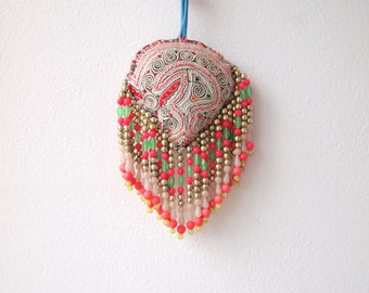 Bohemian Hmong Embroidered Pom Pom Vintage Bead Charm Accessoire
