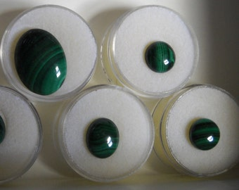 Malacite Cabochons,7 pieces polished green stones, ready to set