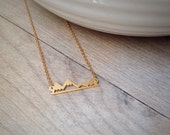 Gold Mountain Necklace - - Nature Jewelry - - Meet me in the mountains - - gold necklace - - boho