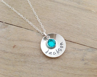 Personalized Name Necklace with Birthstone - Hand Stamped Sterling Silver - Gift for Mom - Gift for Grandma - Handmade jewelry - mom gift