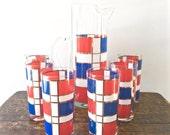 Vintage Piet Mondrian Martini Pitcher and 6 Barware Highball Glasses