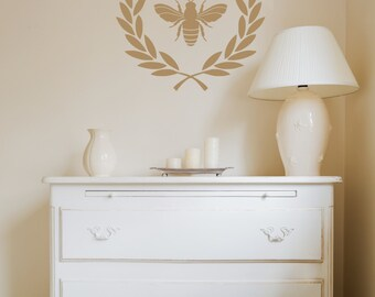 Laurel Wreath Crown Decal | French Country Decor | Napoleonic Bee Decal | French Wall Decal