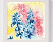 Blue Flowers In Light Original Painting / Mixed Media Art / Floral Painting / Home Decor / Abstract Art