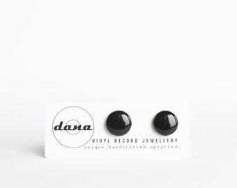12 mm record stud earrings unisex black studs black post earrings black earrings unisex earrings recycled jewelry simple ear posts gift idea