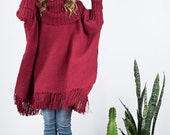 Red Oversized tunic turtle neck Wrap in merino wool, Fringe Kimono, Women's men's Poncho