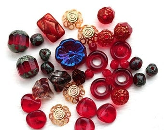 Red beads mix, Red and gold beads soup, hearts, czech glass, spacers, different shapes - BB19