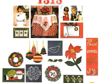 Christmas Embroidery Hot Iron Transfer Motifs, Holly Wreath Santa Angel Candy Cane Snowflake Tree Ornaments, Vogue 1313 Santa Pack II UNCUT