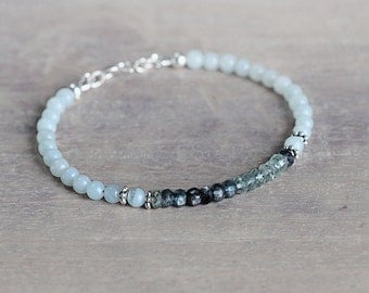 Aquamarine and Silver Bracelet - March Birthstone Bracelet - Ombre Bracelet