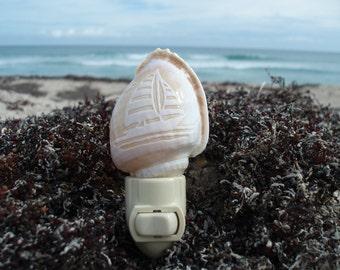 Sailboat Nightlight - Scenic Carved Bonnet Shell Night Light, Nautical Coastal Lighting