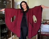 Hooded cape Claret Red cape Cotton cape Women cape Hooded cloak Cotton  Poncho Women clothing Maternity clothes Burgundy coat READY TO SHİP