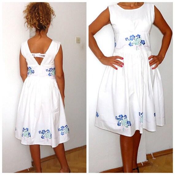 Wedding Dress -Women's white dress- white flowers Open Back Dress- Summer wedding dress Vintage inspired needle embellishments midi sundress