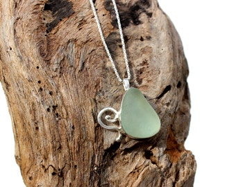 Hawaiian Light Aqua Beach Glass Set in 925 Sterling Silver Handcrafted Pendant / Necklace