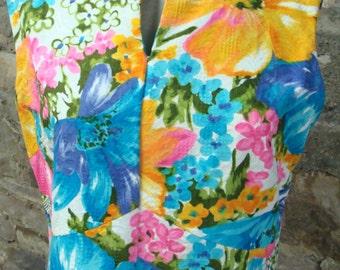 flutterbye VINTAGE MAXI DRESS sleeveless 1960's 1970's L xl