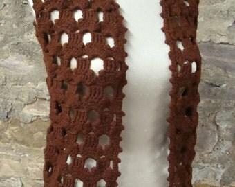 BROWN CROCHET VEST vintage sweater xs S 1970's 70's