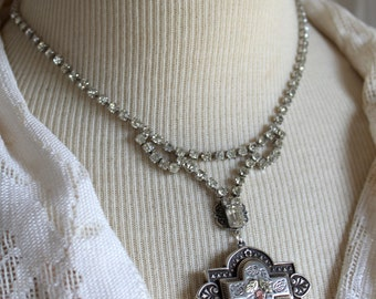 Assemblage Necklace, silver brooch, rhinestone necklace, vintage assemblage, wedding jewelry, Bridal, little black dress, antique assemblage