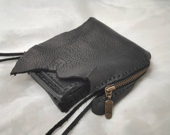 """POUCH, Purse small, Leather, Recycled,*HAND-STITCHED Style*,w/Belt Loop,*Raw Natural Edge*,Sample Sold, 1 of kinds, make """"something similar"""""""