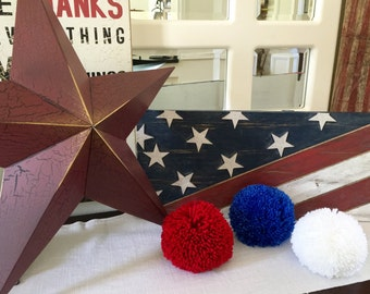 Pom Poms - 4th of July - Yarn Pom Poms - Craft Supplies - Red - White - Blue -Patriotic - Pom Pom - Garland - Americana - USA Decorations