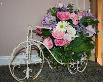 Shabby Cottage Garden Floral Arrangement Distressed Bicycle Pink Blush Lavender