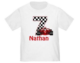 Personalized Birthday Shirt Race Car Birthday T-shirt - ANY AGE