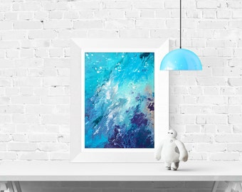 Giclee Print - Drift Away  - Giclee Print of Abstract Blue Acrylic Painting on Canvas by Louise Mead