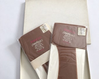 New Old Stock 2 Pair VTG MARVLUS 100% Nylon Stockings 8.5-9 Nude Hosiery Pantyhose in BOX