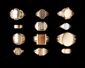 Antique Signet Ring. 10k Gold. Gothic Y. Late Art Nouveau. Size 7.75 to 8
