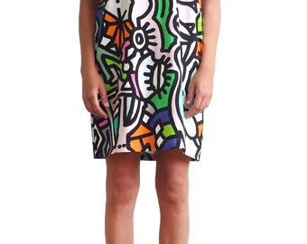 Organic cotton cut out shoulder summer dress with tribal neon print