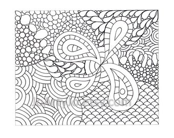 Childrens Zendoodle Coloring Page PDF, Page 66, Printable Instant Download