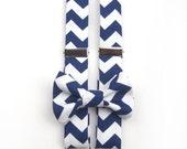 Navy Blue Chevron Bow Tie & Suspenders, Navy chevron, chevron bow tie, chevron suspenders, men's suspenders, boys suspenders, men's bow tie