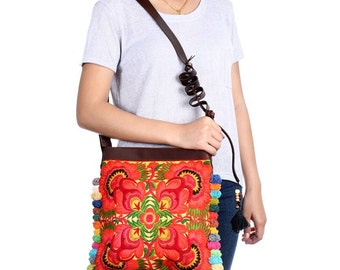 Pom Pom Cross Body Bag With Embroidered Fabric Adjustable Leather Strap (BG837BP-OF2)