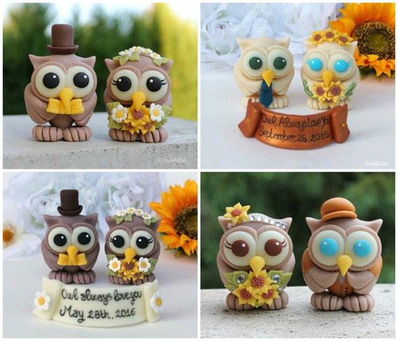 Rustic Owl Wedding Cake Topper: Rustic Owl Wedding Cake Topper Love Bird Cake Topper