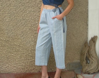 Vintage DENIM high elastic waisted trousers, size S-M