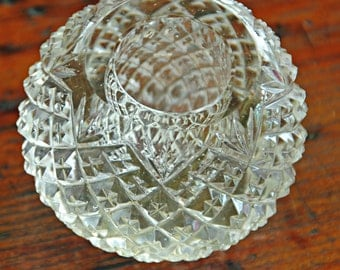 """Antique Brilliant Period LIBBEY INSPIRED PAPERWEIGHT n Candle Holder 'Strawberry n Fan' Hand Cut Glass 2 1/2"""" di x 2""""T Desk Item Not Signed"""