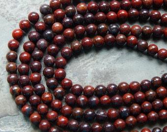 8mm Brecciated Jasper Round Polished Gemstone Beads, Half Strand (IND1C624)