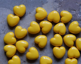 10mm Dark Yellow Acrylic Heart Beads, 25 PC (INDOCO9)