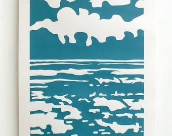 Seascape screen print. Sea and clouds. Seaside art. Hand printed. Teal print. Nautical print. Blue and white. A2/42x59.4cm/16.5x23.4in
