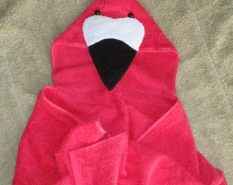 Coral or Bright Pink Flamingo Hooded Bath Towel for Bath, Pool, Beach