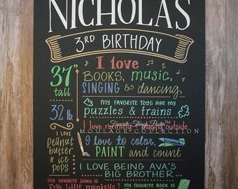 "Third birthday chalkboard style custom ink drawing on 15""x20"" art board, the original Favorite Things Poster™"