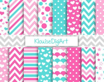 Pink and Turquoise Valentine Printable Digital Paper with Chevrons, Hearts, Stars and Dots for Personal and Small Commercial Use (0095)