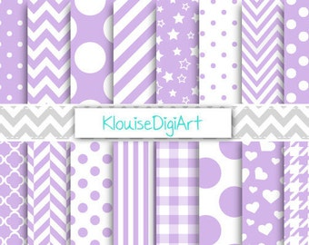 Lilac Purple and White Printable Digital Paper Pack with Gingham, Stripes and Quatrefoil for Personal and Small Commercial Use (0062)