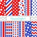 Red and Blue July 4th Independence Day Printable Digital Paper Pack with Stars and Stripes for Personal and Small Commercial Use (0008)