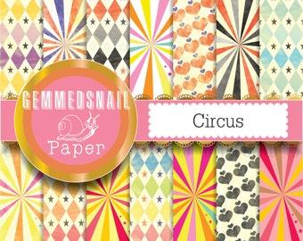 Circus scrapbook paper, 14 circus patterns, carnival digital paper, starburst digital paper