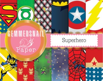 Superhero digital paper 12 superheros plus a free word paper kapow! xmen, avengers