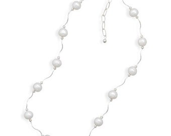 """Sterling Silver 17""""+2"""" Extension Wave Design Necklace with Cultured Freshwater Pearls"""