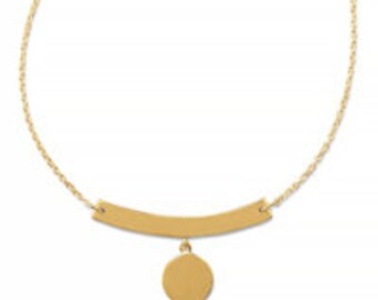 "16"" + 2"" ( 18"" ) ENGRAVABLE 14 Karat Gold Plated over Sterling Silver Necklace with Bar and Disc Drop"