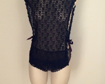 Vintage 1960s 70s Black Sheer Nylon Mesh Lace Lingerie Top Panties Medium