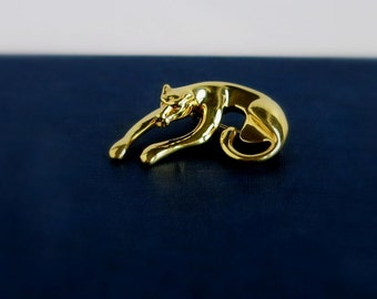 14K Yellow Gold Panther Brooch, Vintage 14K Yellow Gold Brooch Jaguar Pin